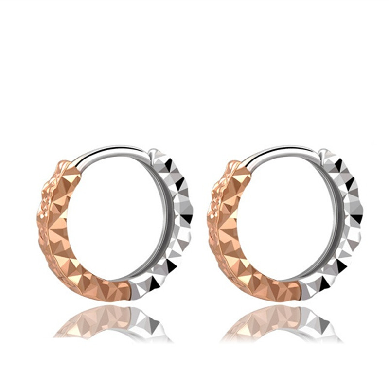 18K Gold Women Accessories Vintage Retro Small Hoop Earrings 2 Tone Hoop Earrings Gold Rose New Earrings Fashion Jewelry 10mm 12 glitter hoop stud earrings