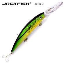 Jackfish modelo de ruído minnow isca de pesca 15cm/12g lifelike minnow isca swimbait água superior flutuante isca de peixe fundição