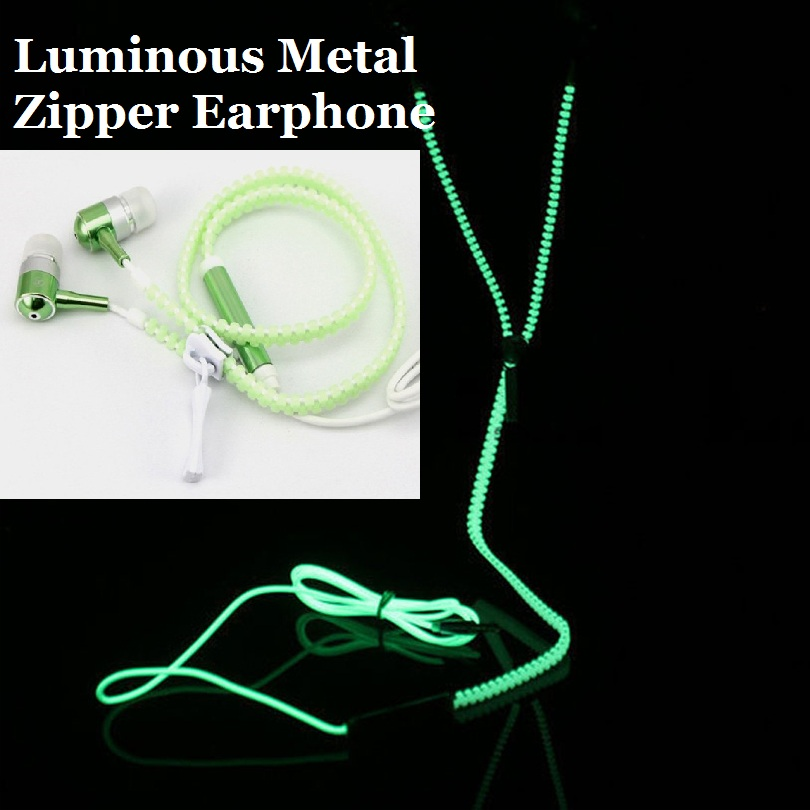 Fashion Creative Sports Earphones Headset with Mic Luminous Light Glow in the Dark Zipper Earphone for Mobile Phone MP3 MP4 гарнитура skullcandy ink d with mic dark red s2ikhy 481