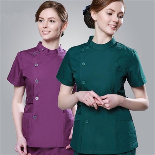 2018 barato verano mujeres hospital personalizado logo médico scrub set diseño delgado ajuste dental scrubs salón de belleza enfermera uniforme spa