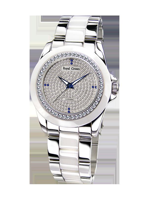 Royal Crown ювелирные часы 6412L Италия Бренд Diamond Японии MIYOTA керамики элегантный браслет женский Наручные часы платье со стразами