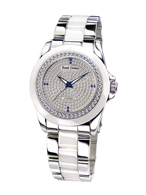 Royal Crown Jewelry Watch 6412L Italy brand Diamond Japan MIYOTA ceramics Elegant Bracelet Female Wristwatches Diamond Dress кольцо royal diamond