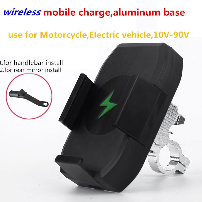 Wireless Adjustable CELL PHONE HOLDER Motorcycle Bike Mirror Charging Bracket Handle 10-90V Aluminum Alloy Shockproof Waterproof