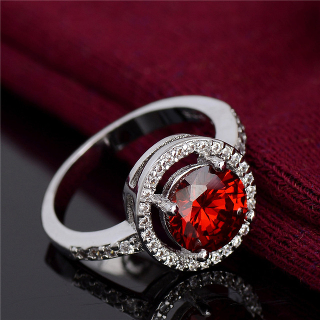 H:HYDE Noble design Jewelry Red Cubic Zirconia CZ stone Jewelry Silver Color Wedding Rings For women Gift  size 6-10