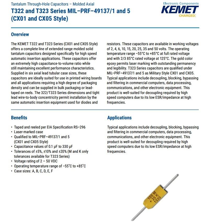 25 PC. T322 KEMET TANTALUM CAPACITORS 4.7 UF AT 35 V AXIAL NEW