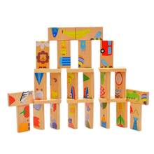 28PCS Wooden Child Animal Style Dominos Set Cartoon Children Baby Educational Assembling Blocks Toy Building Dominoes Game(China)