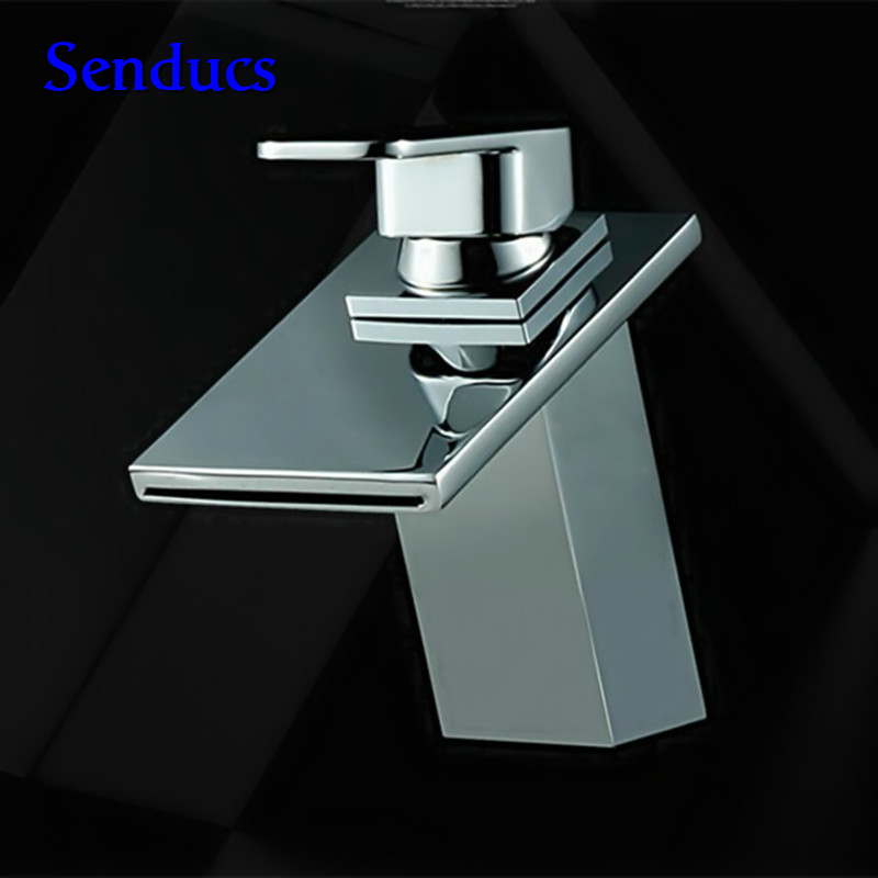 Free shipping square brass waterfall mixer tap with single handle bathroom basin sink faucet for chrome bathroom waterfall mixerFree shipping square brass waterfall mixer tap with single handle bathroom basin sink faucet for chrome bathroom waterfall mixer