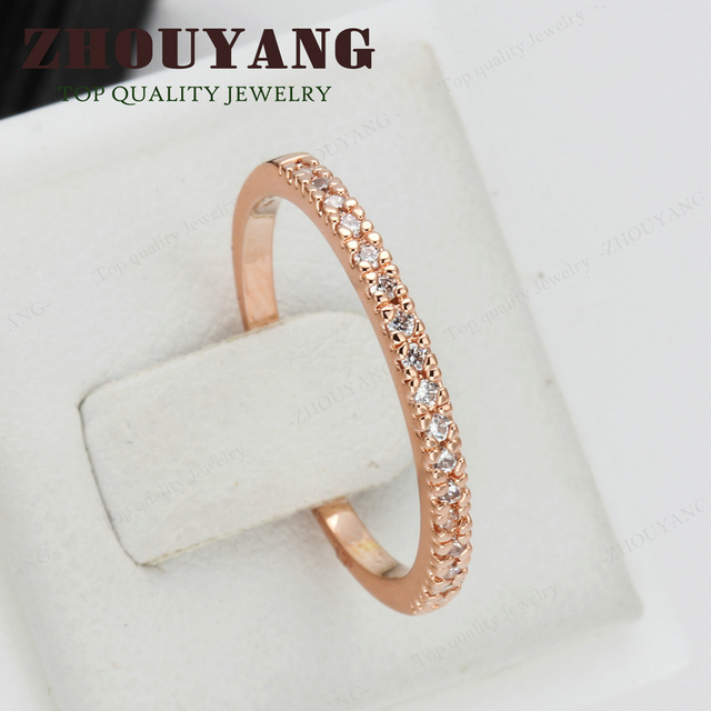 Top Quality Gold Concise Classical CZ Wedding Ring Rose Gold Color Austrian Crystals Wholesale ZYR132 ZYR133 3