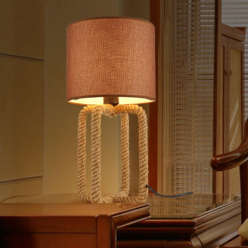 Belle Lampe De Salon #14: Belle Vintage Chanvre Lampe De Table, Rétro Bureau De Pays Du0027amérique Salon  Chambre