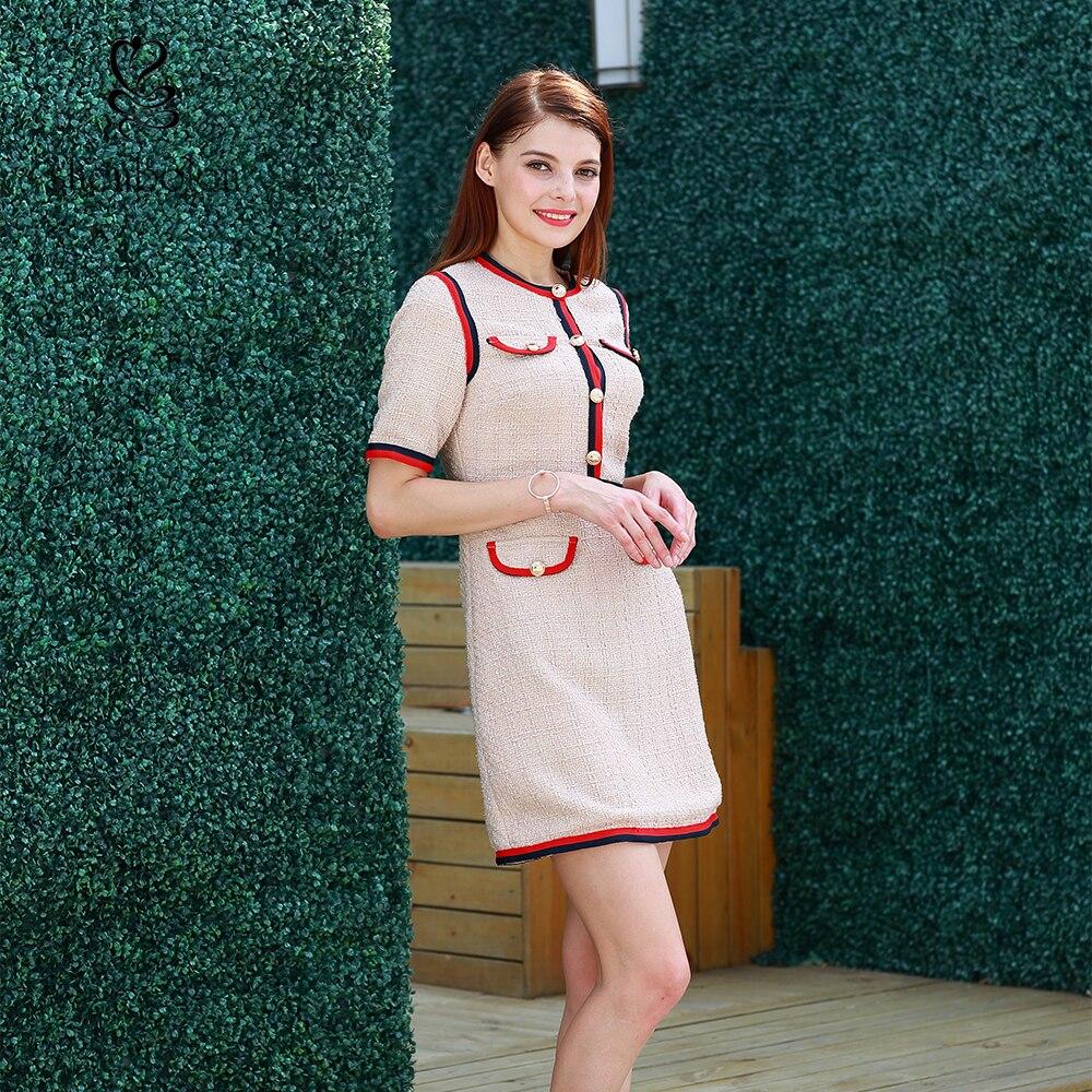 2019 nouvelle mode Kate Middleton robes femmes élégant bureau robe fête Midi bal rayé couture robe
