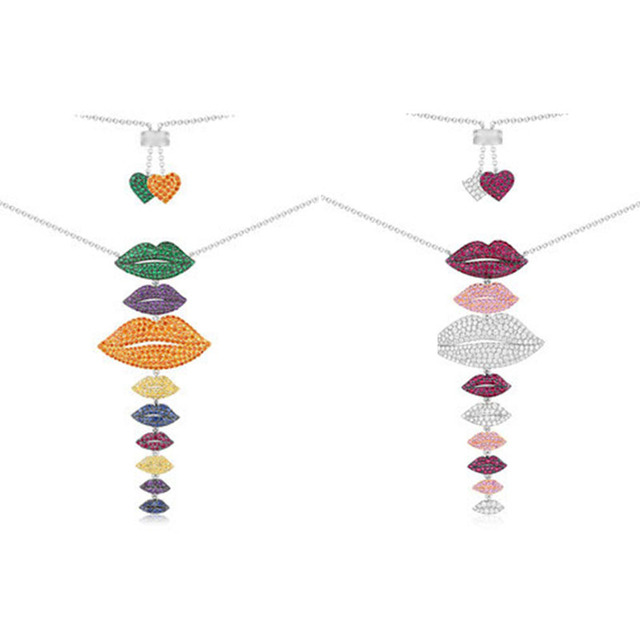 Fashion Charm 100% Sterling Silver Original 1:1 High Quality Multicolor Lips Necklace Women Jewelry Free Mail