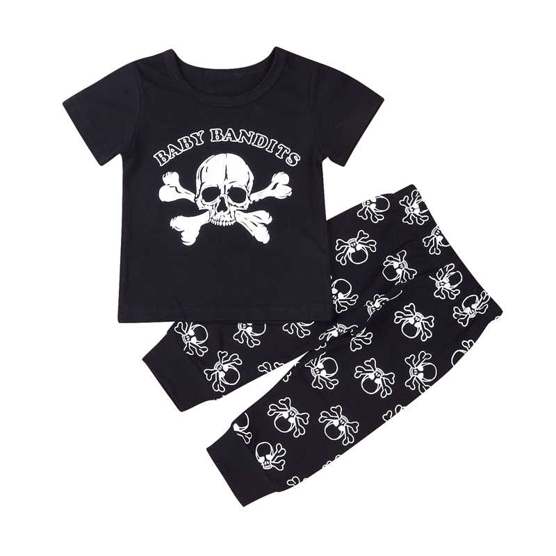 Baby Boy Clothes 2017 New Fashion Toddler Infant Baby Boy 2Pcs Outfits Skull T-Shirt Tops+Long Pants Clothes Set Roupas Se Bebes