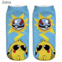 Zohra Fashion Pokemon Women's Hosiery Pika Cool Printed Meias Causal Low Cut Ankle Sock Calcetines Pikachu Socks