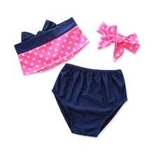 0c66eb5b54a80 HOT Summer 3 Piece Swimsuits Toddler Kids Baby Girls Polka Dot Swimsuit  Swimwear Bathing Suit Tankini Ruffle Bikini Set 1-6Y