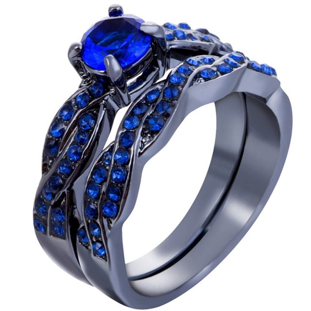 Size 3 12 Black Blue Stones Wedding Engagement Ring Band Sets Anniversary Infinity Twisted Tail