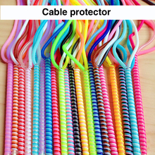 60cm Colors Data Cable Protective Sleeve Spring twine For Iphone Android USB Charging font b earphone