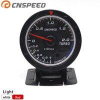 CNSPEED 60MM Car Turbo Boost gauge Red & White Lighting BAR Type Black Face Pressure Gauge Car Meter YC101347