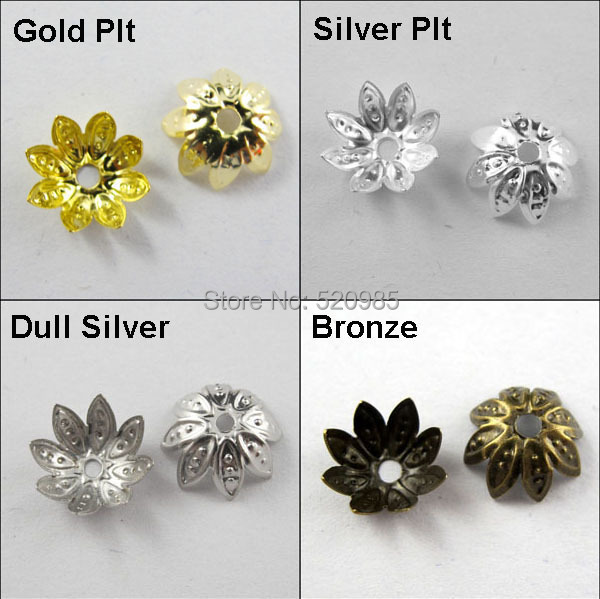 (200Pcs=1Lot ! ) Free Shipping Jewelry Finding 10MM Lotus Flower Bead Cap Gold Silver Bronze Nickel Plated No.BC05 50pcs 1lot tip102 st to 220 free shipping