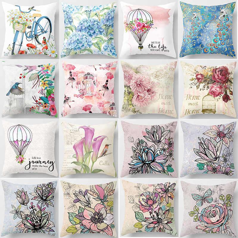 Современный модный цветочный подушка чехол акварель цветок декор пион наволочка
