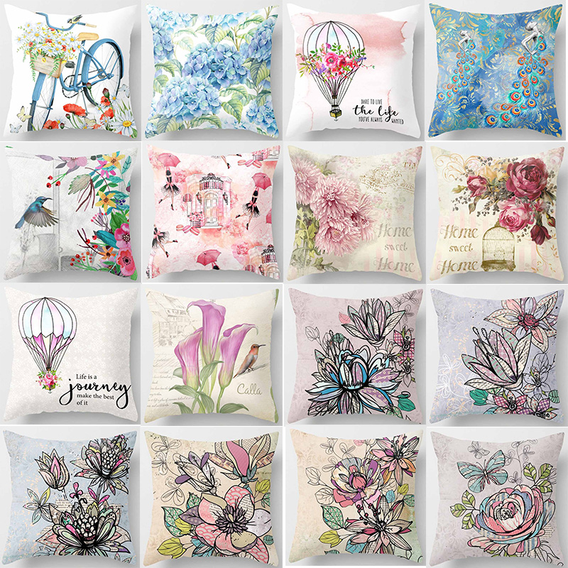 New Tropical Plants Flowers Bike Pillow Cases Square Double Sides Pattern Pillow Covers Size 45*45cm