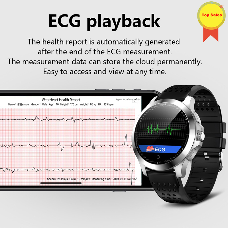 new ECG PPG smart watch with electrocardiograph ecg display real ecg medical theory heart rate monitor blood pressure smartwatch