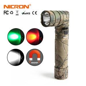 Image 2 - NICRON Magnet 90 Grad Wiederaufladbare LED Taschenlampe Handfree 800LM Ultra Hohe Helligkeit Wasserdicht Camo Ecke LED Taschenlampe B70
