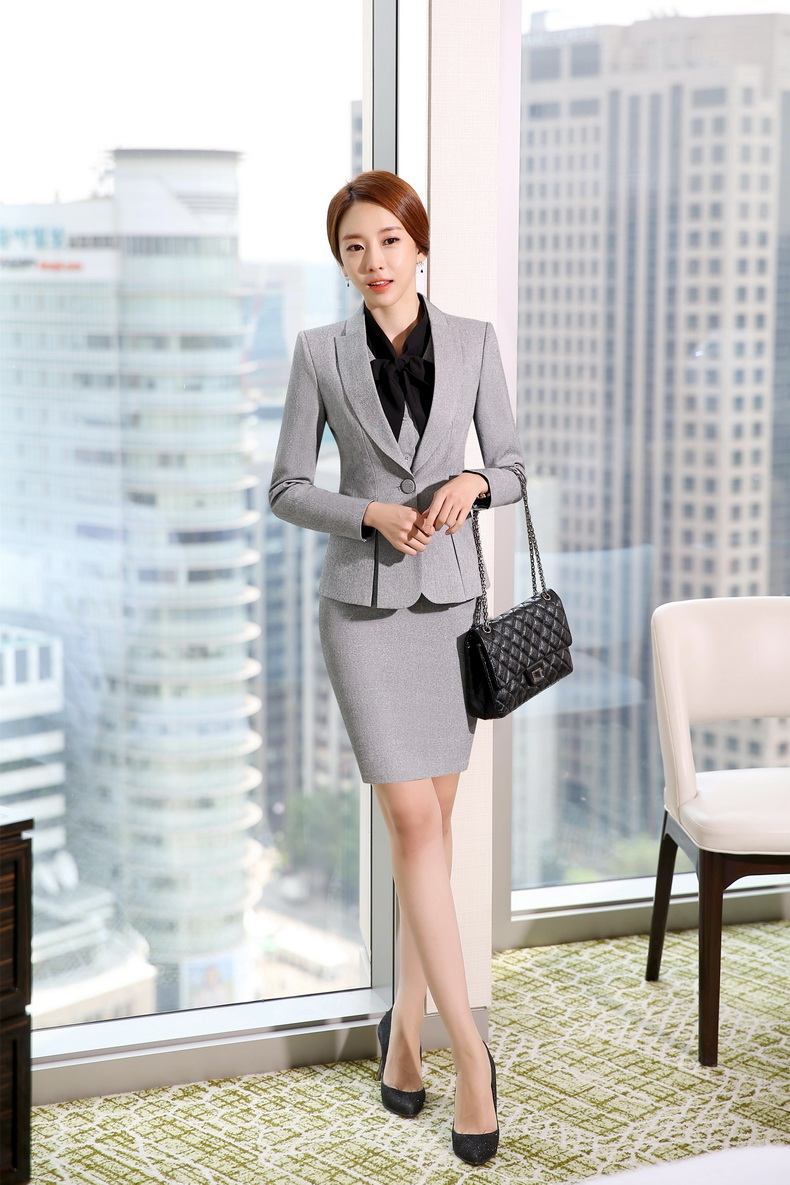 Novelty Grey Formal Ol Styles Professional Business Women Work Suits With  Pieces Jackets Vest Skirt La S Blazers Outfits In Skirt Suits From Womens