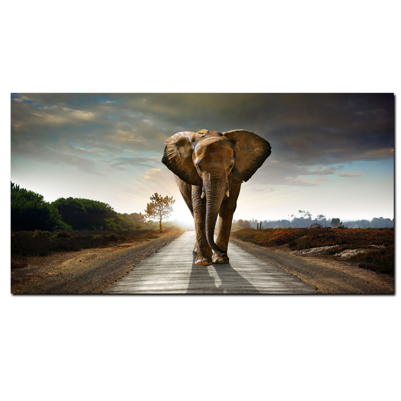 African Elephant Landscape Oil Painting Printed on Canvas 17