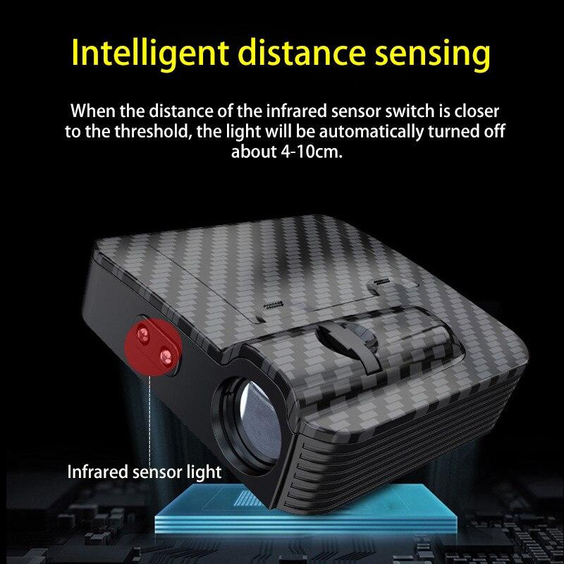 1pcs New car door wireless welcome lamp universal projection lamp wireless spotlight infrared sensor light for car All model (9)