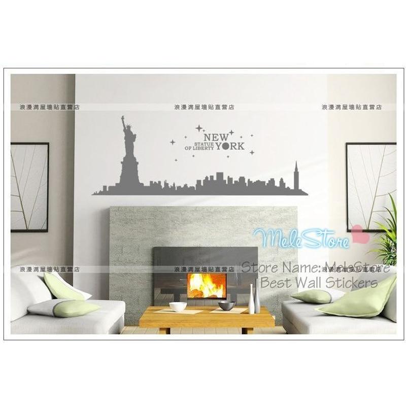 Wall Stickers Statue Of Liberty Sticker New York City Buildings Home Decor Shop Window Showcase