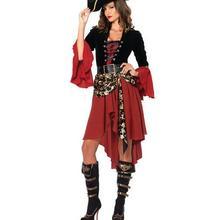 1 компл./лот пиратский костюмы для сцены для сексуальный костюм для взрослых, костюм на Хеллоуин, к платью; женские полиэстер костюм пирата