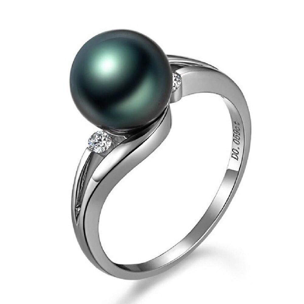 Black Pearl White Gold Ring