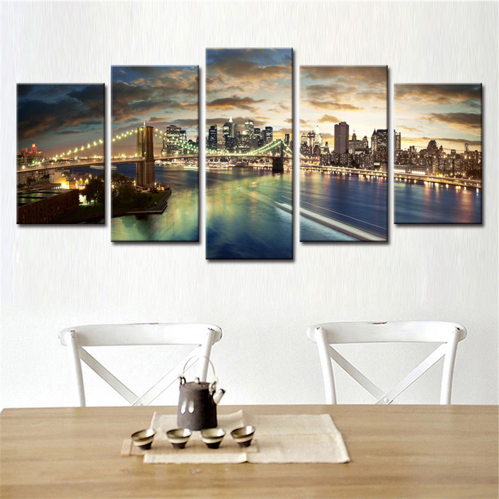 No Framed 5 Pieces Abstract Decorative Wall Modular Pictures Canvas Art Set City Secnery Oil Spray Paintings for Living Room