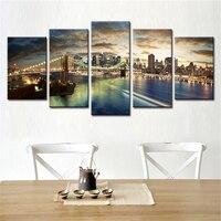 No enmarcado 5 unidades abstracta decorativa pared modular cuadros lienzo de la ciudad paisaje spray de aceite pinturas para sala