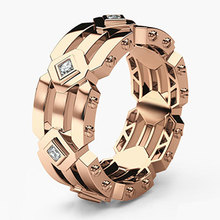 HIP HOP Rose Gold Color Rings for Men High Quality Fashion AAA Cubic Zirconia Wedding Bands Jewelry 2019