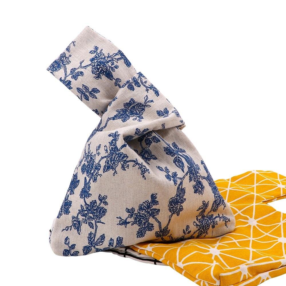 1 Pc Japanischen Stil Knoten Einkaufstaschen Wind Einfache Schlüssel Handy Tasche Walking Grid Welle Blume Baumwolle Handtasche Futter Tasche Einfach Zu Schmieren