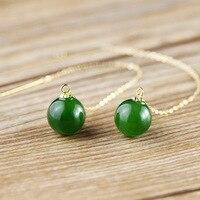 Золото Природный Хотан зеленый камень шарообразный нити Серьги