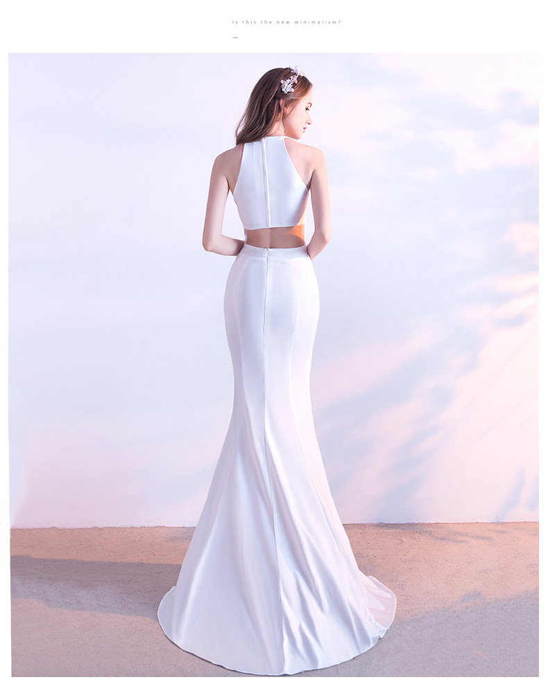 Halter Long Mermaid Wedding Party Bridesmaid Dress