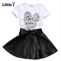 Little J New Fashion Toddler Kids Girl Clothes Set Summer Short Sleeve Love T Shirt Tops