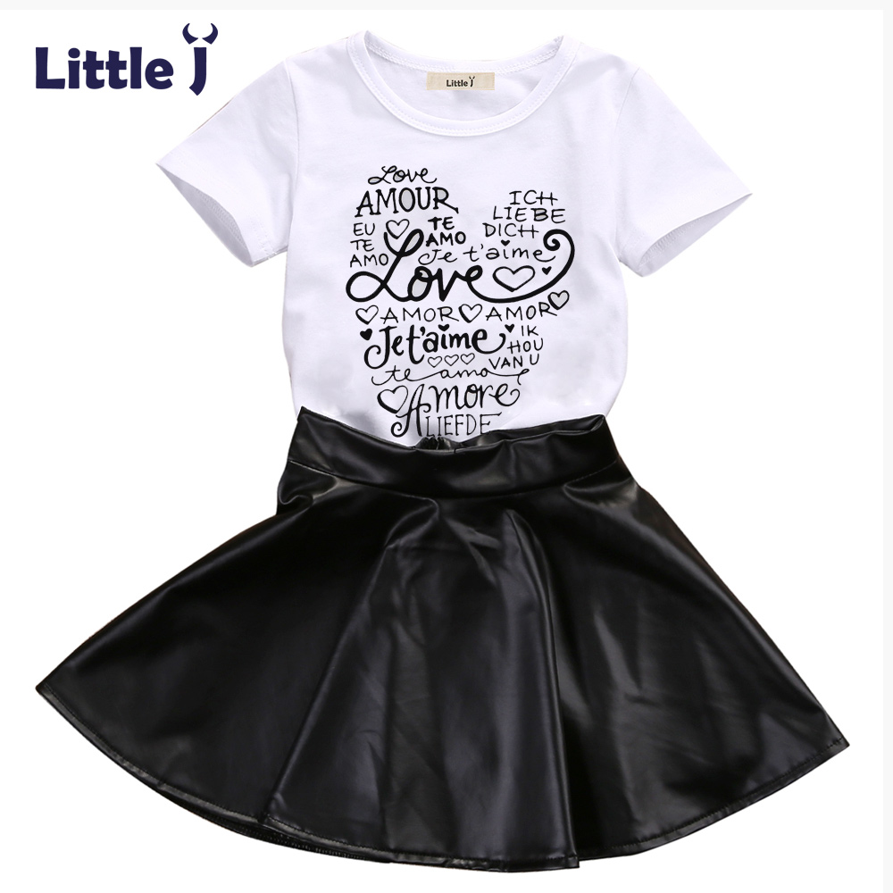 Little J New Fashion Kids Girl Clothes Set Summer Short Sleeve Love T-shirt Tops + Leather Skirt 2PCS Outfit Children Suit 2017 new fashion kids clothes off shoulder camo crop tops hole jean denim pant 2pcs outfit summer suit children clothing set