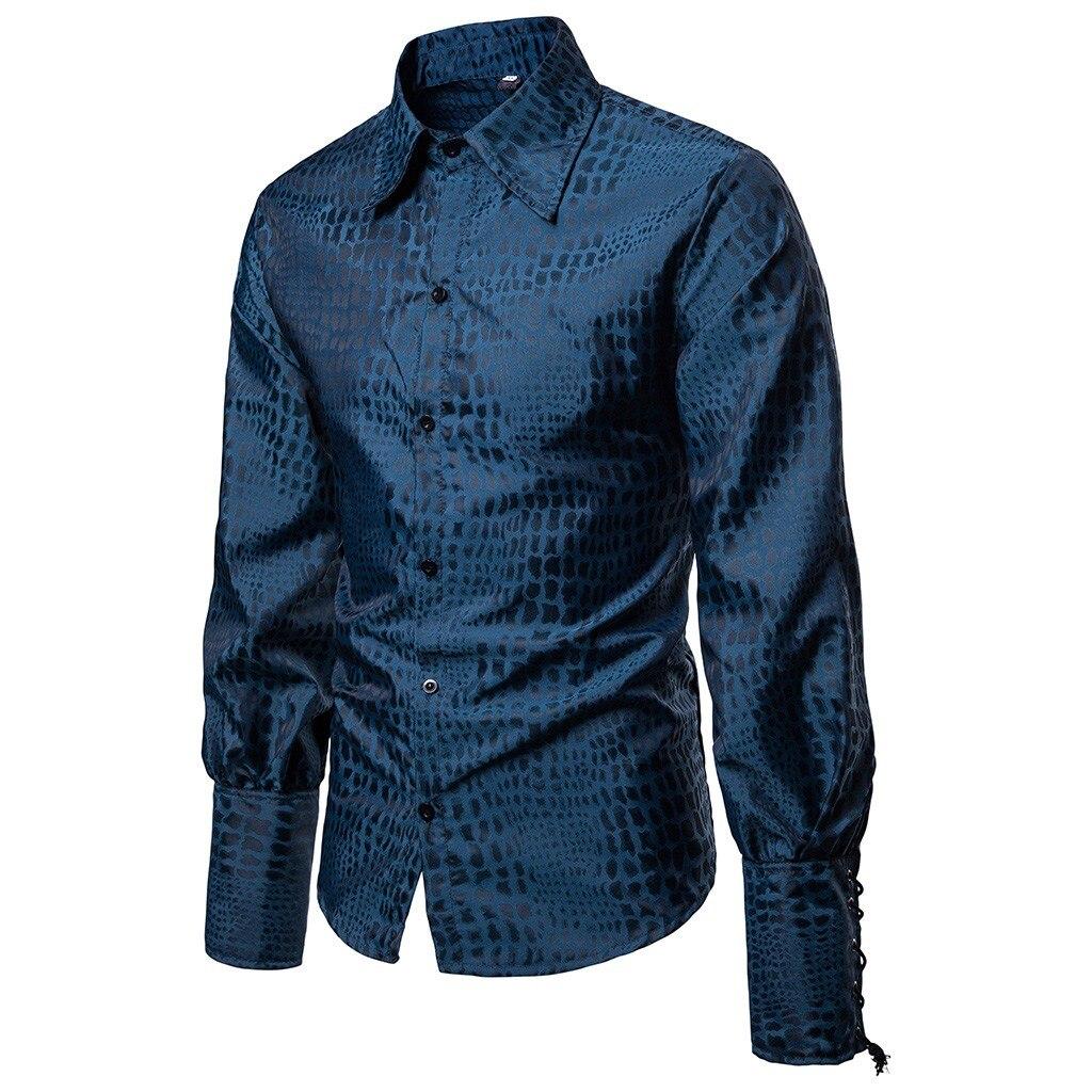 YYear Men Shirts Slim Button Up Long Sleeve Printing Dress Shirt Top
