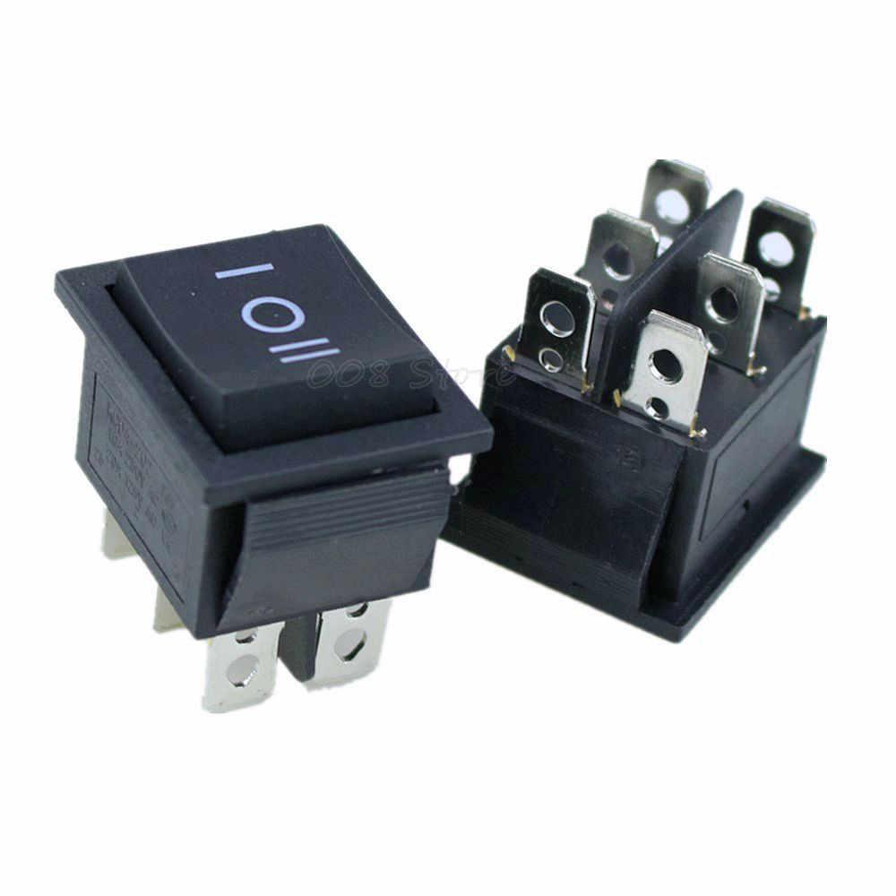 1 PCS KCD4 đen Rocker Chuyển Đổi Chuyển Đổi Điện ON-OFF-ON 3 Vị Trí 6 Pins 16A 250VAC/ 20A 125VAC