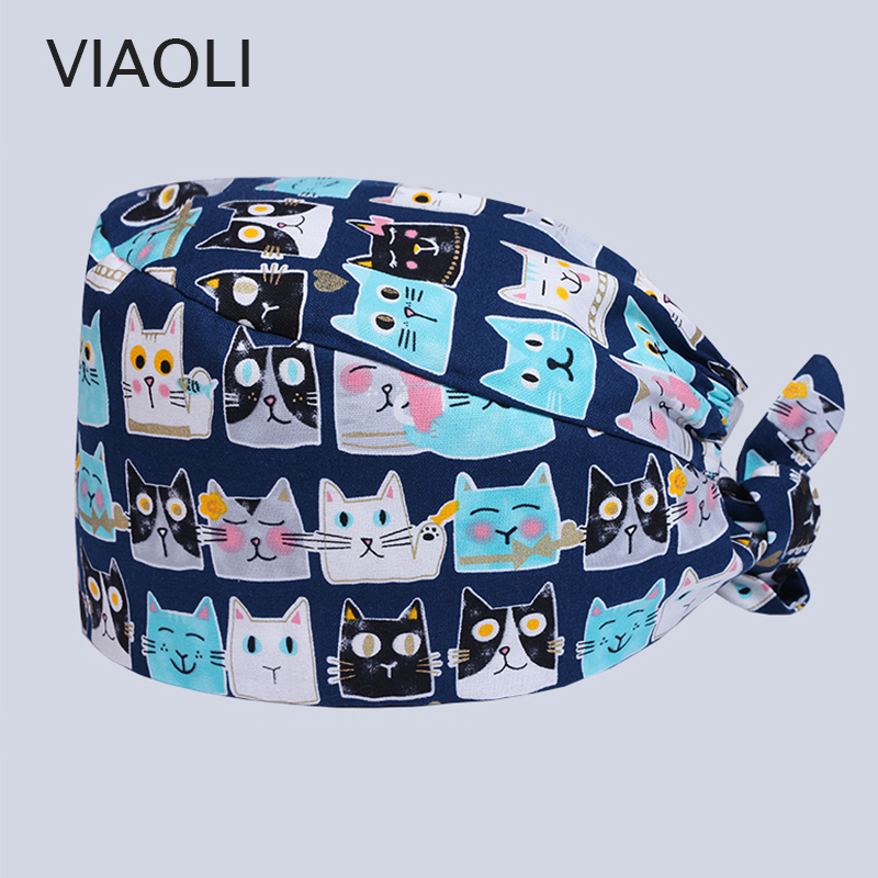 Cotton 100% Printed Surgical Cap Dentist Hat Pet Doctor Hat/caps With Adjustable