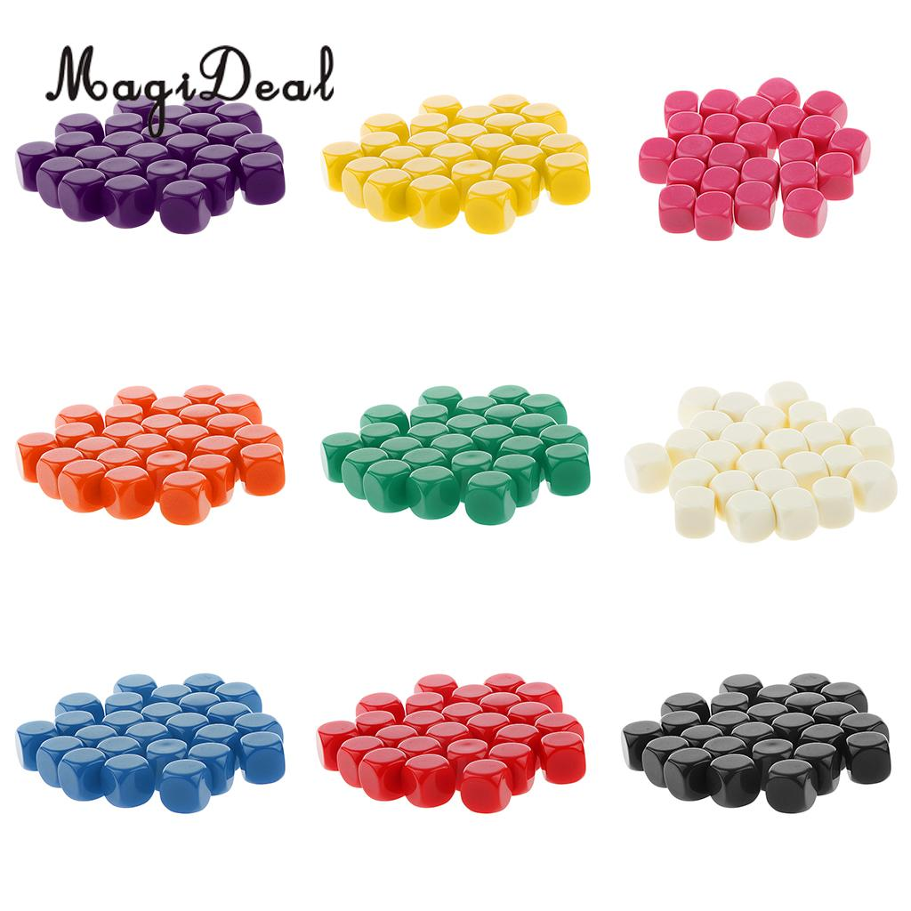 MagiDeal High Quality 25Pcs Acrylic Opaque Blank Six Sided Dice D6 D&D RPG Party Game Board Dices Classroom Teaching Aids Acce