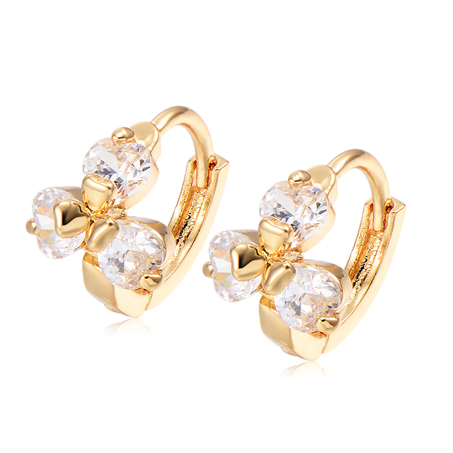 Children Toddler Kids Baby S Safety Cute Princess Crystal Tiny Clover Flower Hoop Earrings Gold Filled