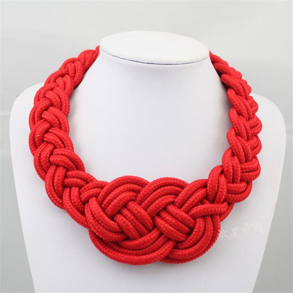 L'europe et les États-unis populaire main-tissé multi-couleur coton et lin élégant collier court dames collier