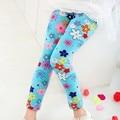 1 unid retail niños libres del envío de manga larga de moda estampado de flores pantalones de los cabritos de la muchacha legging
