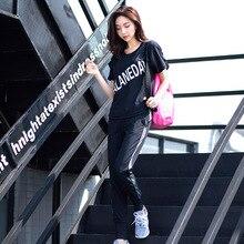 b280585187c99 LYSEACIA Loose Fitness Clothing Three Piece Yoga Suit Letters T-Shirt Black Sport  Bra