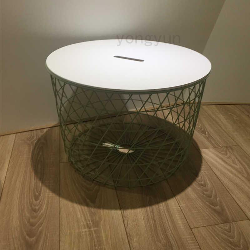 Sala de estar Mobiliário Moderno Minimalismo Cestos De Armazenamento Mesa Lateral fio de Metal multifuncional Mesa de Chá de café redonda D60cm D44cm