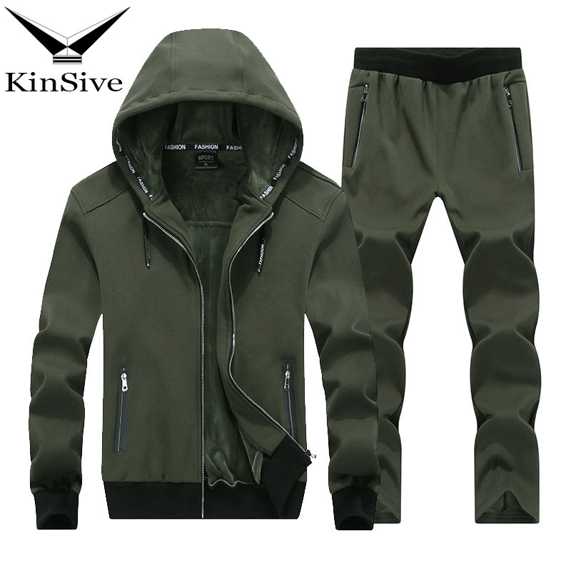 2018 Winter Brand Men Tracksuit Two Piece Sets High Quality Cotton Thick Warm Hoodies Jacket + Pants Track Suit For Men Clothes